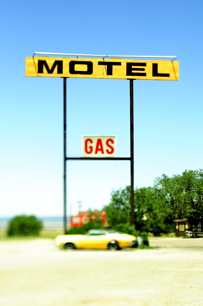 Old Motel and Gas Signs, Moriarty, New Mexico, United States of America