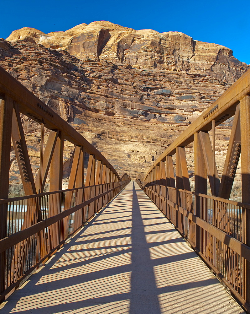 Pedestrian Bridge With a Rocky Background, Moab, Utah, United States of America