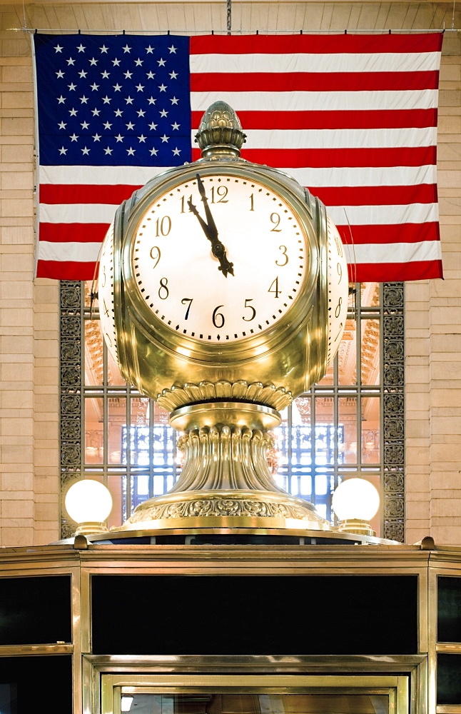 Old Clock in Front of Flag, New York, New York, United States of America