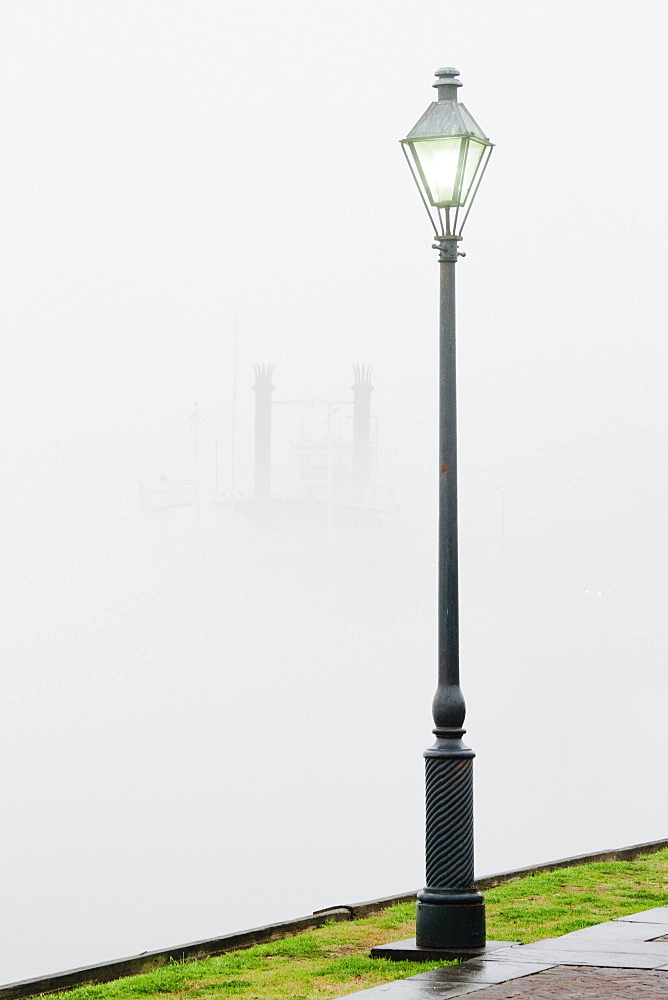 Park Street Lamp in the Fog, New Orleans, Louisiana, USA