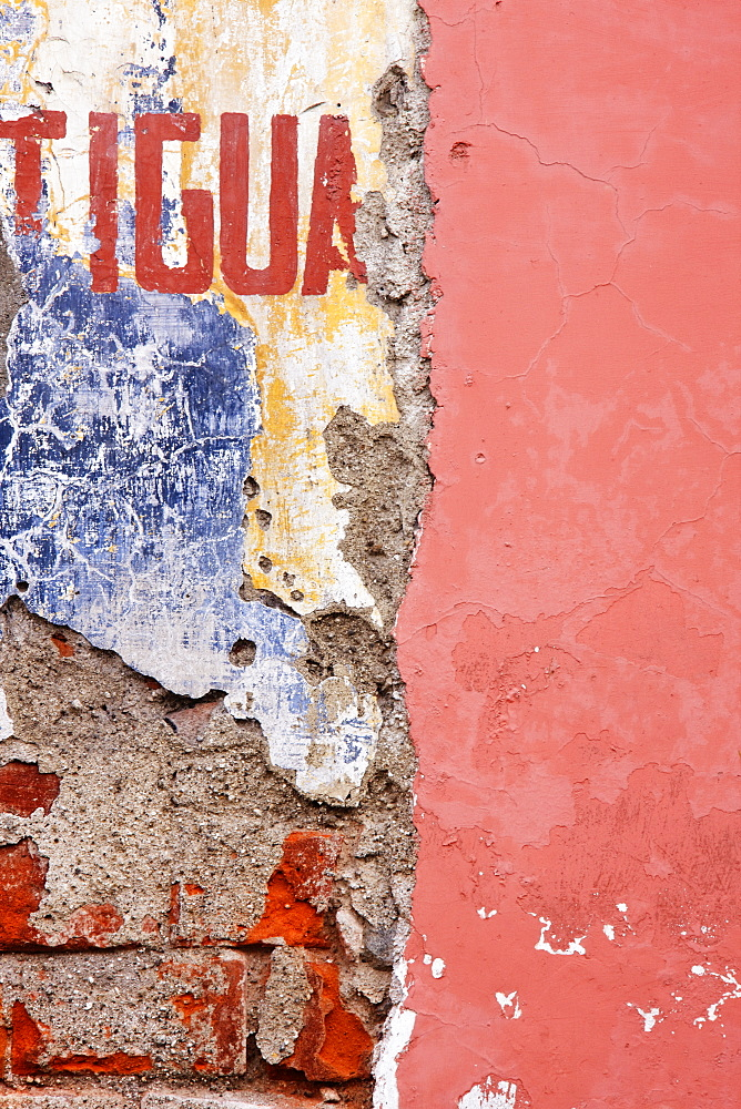 Weathered and Cracked Wall, Antigua, Guatemala