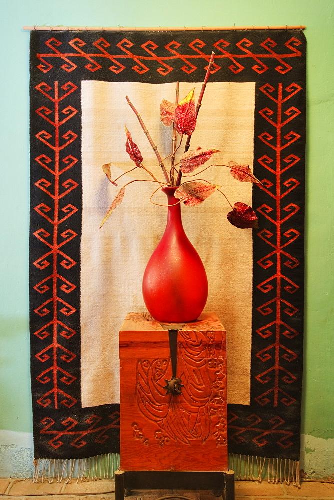 Decorative Vase on a Wooden Chest, Todos Santos, Baja California, Mexico