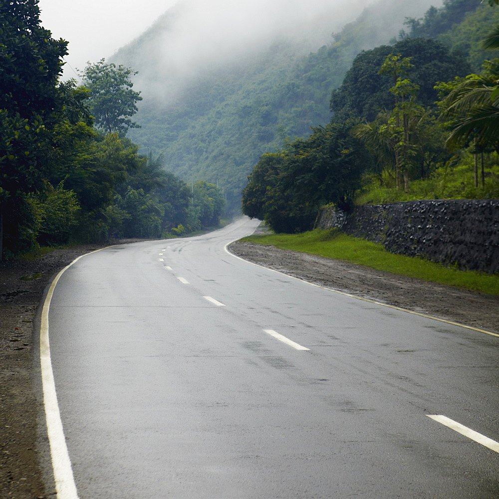 Damp Roadway in the Mountains, Ifugao Province, Philippines