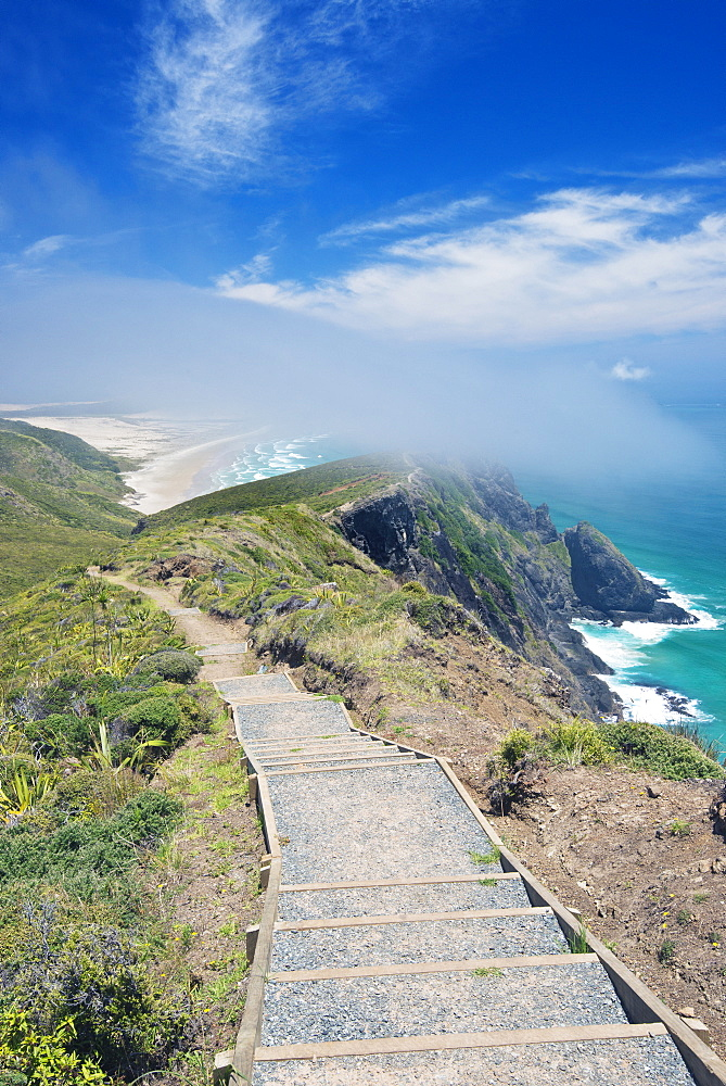 Steps on coastal hillside, Te Werahi, Cape Reinga, New Zealand, Te Werahi, Cape Reinga, New Zealand