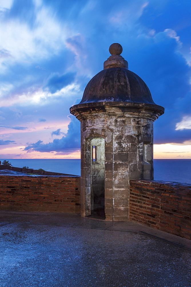Sentry nook on castle roof, Castillo San Cristobal, San Juan, Puerto Rico, San Juan, Puerto Rico, Puerto Rico