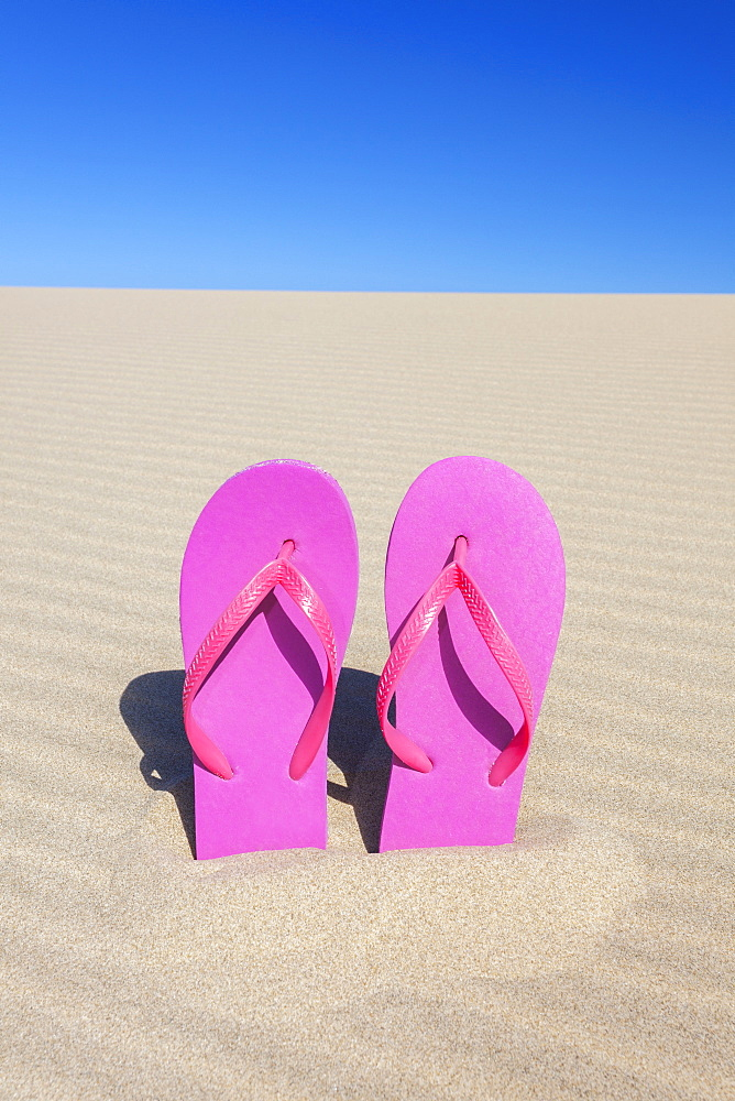 Pink flip flops in sand, Florence, Oregon, USA
