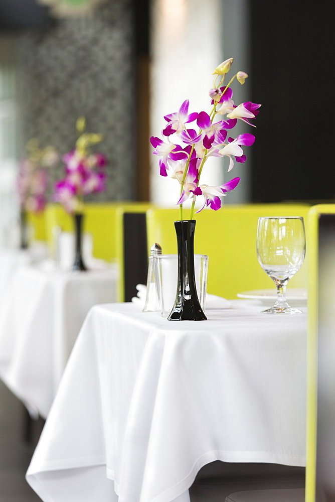 Set tables in Thai restaurant, Seattle, Washington, USA