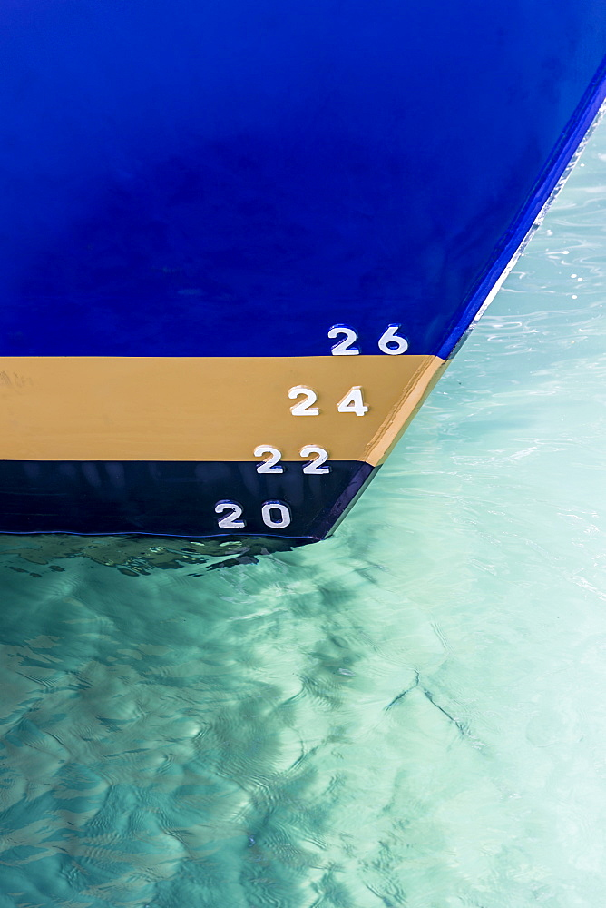 Depth markers painted on ship hull, Milford Sound, New Zealand