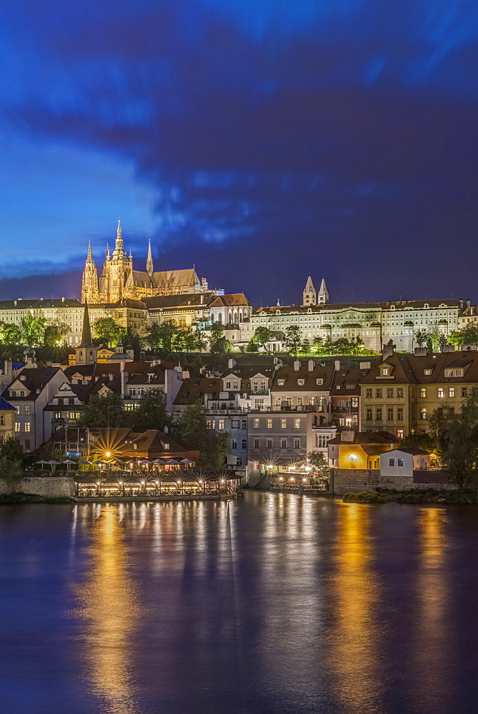 Prague Castle illuminated at night, Prague, Central Bohemia, Czech Republic