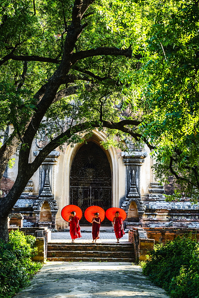 Asian Buddhist monks carrying umbrellas on staircase at Hsinbyume Pagoda, Mandalay, Sagaing, Myanmar