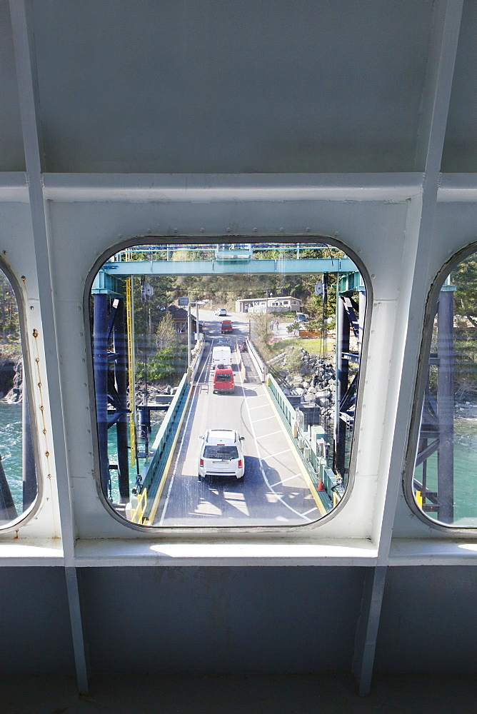 Bridge viewed through ferry boat window