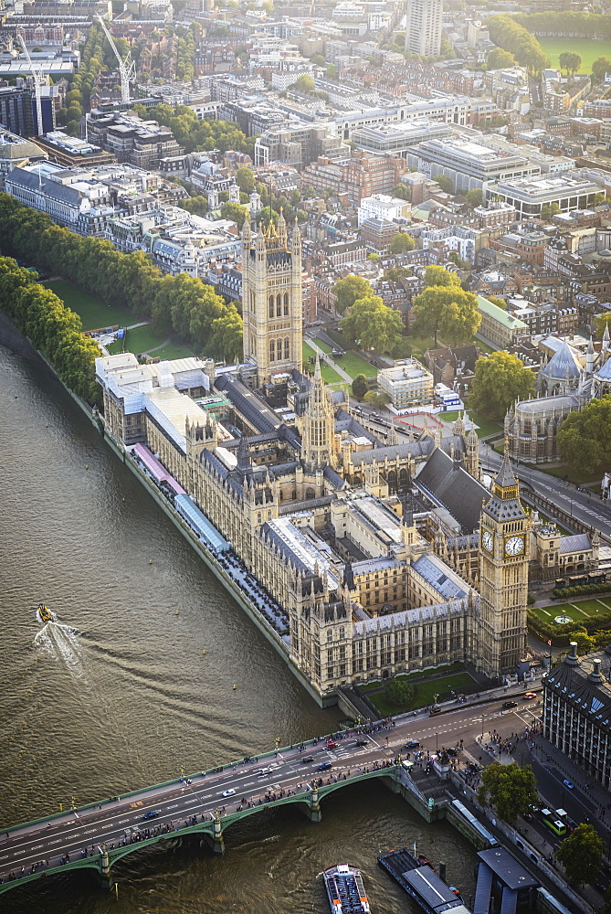 Aerial view of London cityscape and river, England