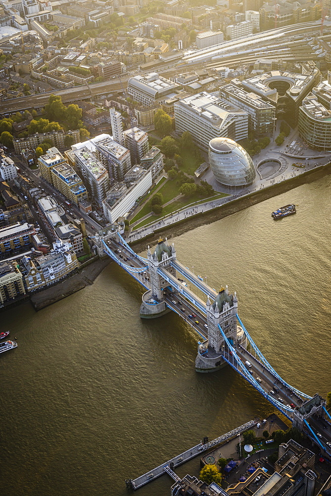 Aerial view of London cityscape and river, England - 1174-6174