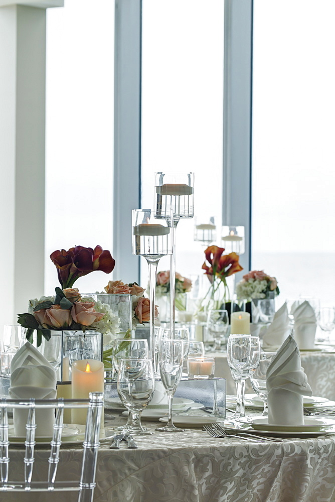 Center piece on table in ball room, Miami, Florida, USA
