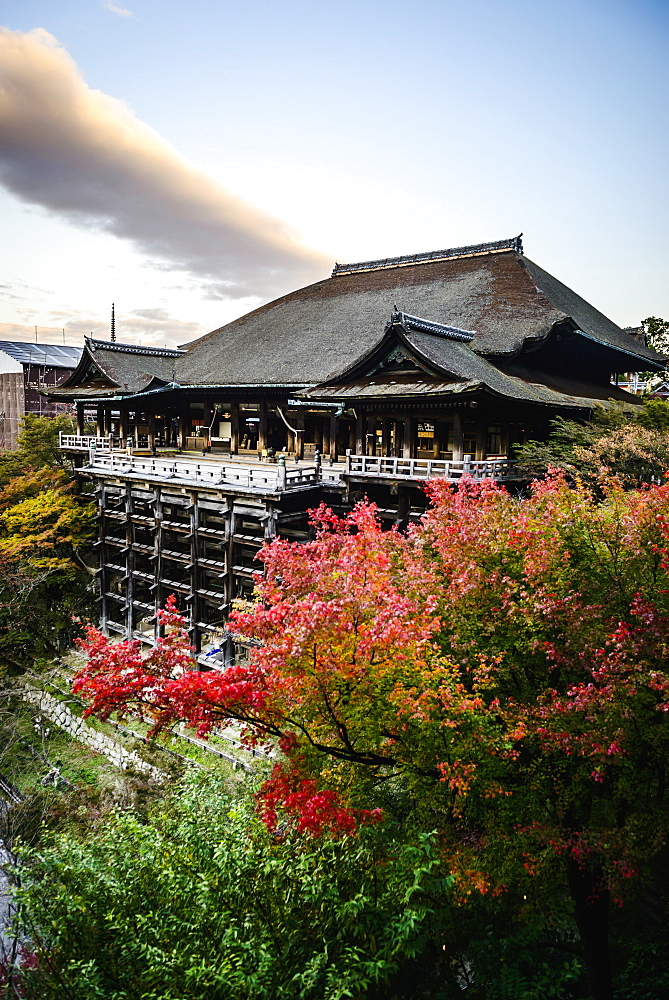 High angle view of traditional building on hilltop, Kyoto, Japan