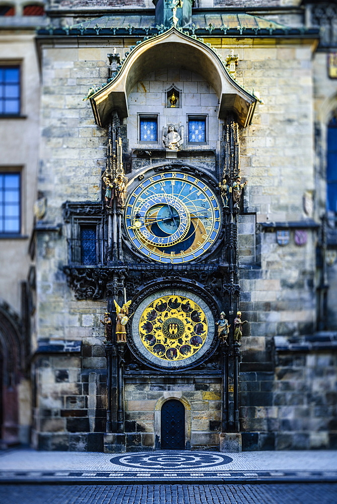 Ornate clock on historical building, Prague, Czechoslovakia