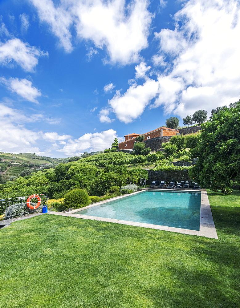 Infinity pool in rural hillside, Peso da Regua, Vila Real, Portugal