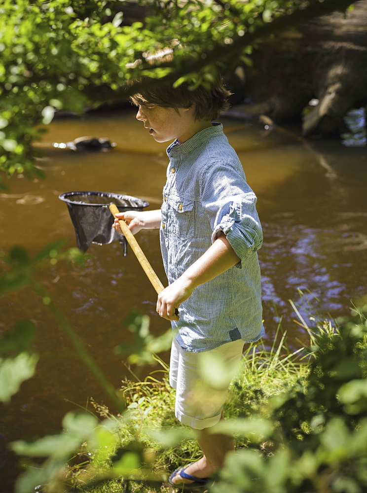 A young boy holding a fishing net, by a shallow river. Camping in the New Forest, Hampshire, England