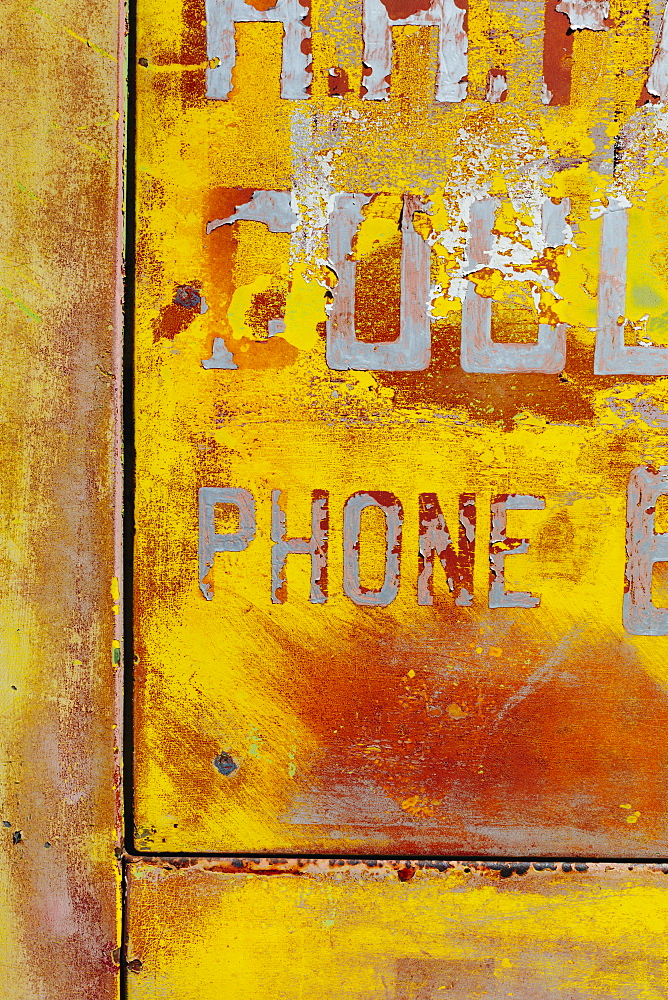 Peeling lettering and paint on side of old, abandoned truck, Whitman County, Washington, USA