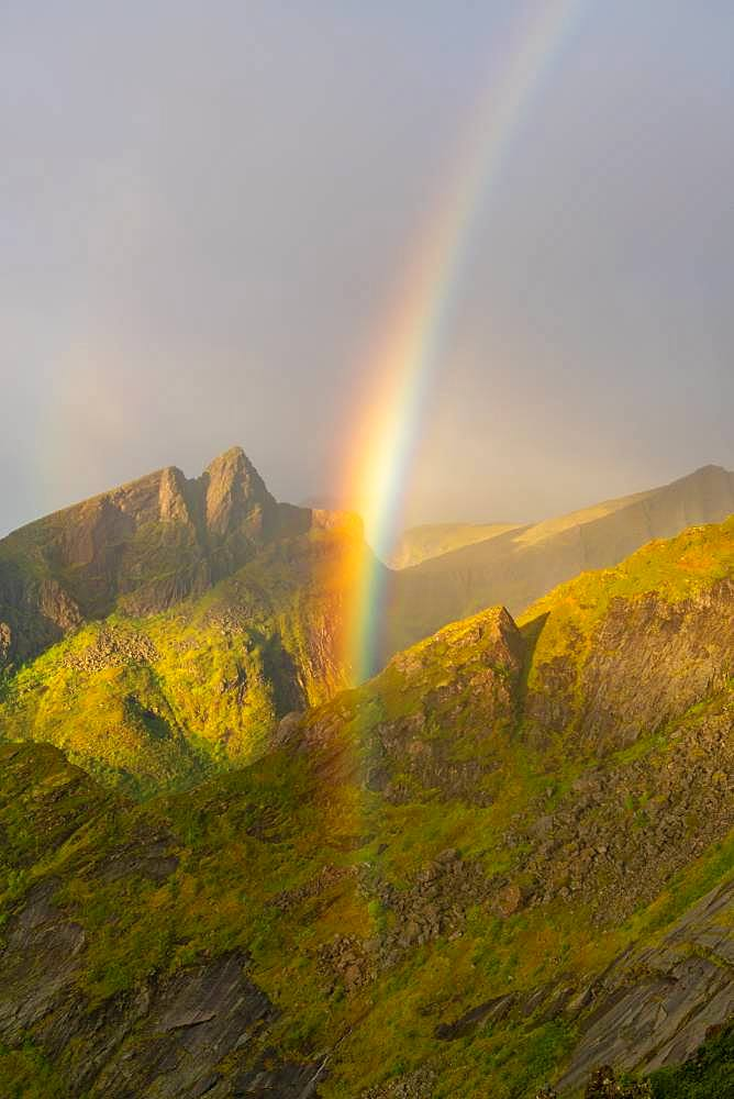 Rainbow in the mountains on Senja Island, Troms County, Senja Island, Lofoten Islands, Norway