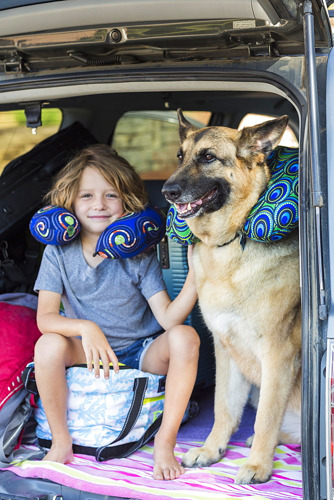 5 year old boy with his German Shepherd dog, in back of SUV