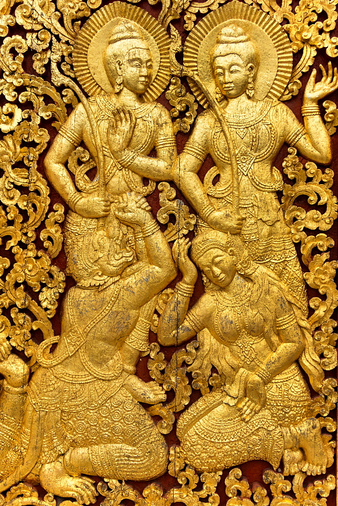 Religious Carvings On The Doors Of Wat Xieng Thong, Laos, Laos