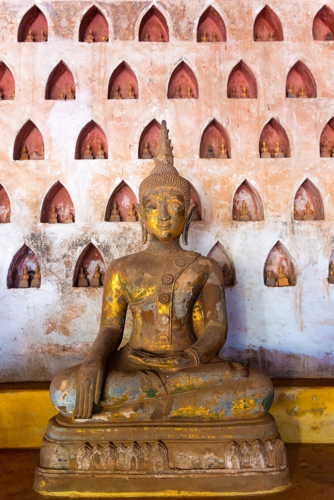 Wat Si Saket, a collection of statues in wall niches, Vientiane, Laos, Laos