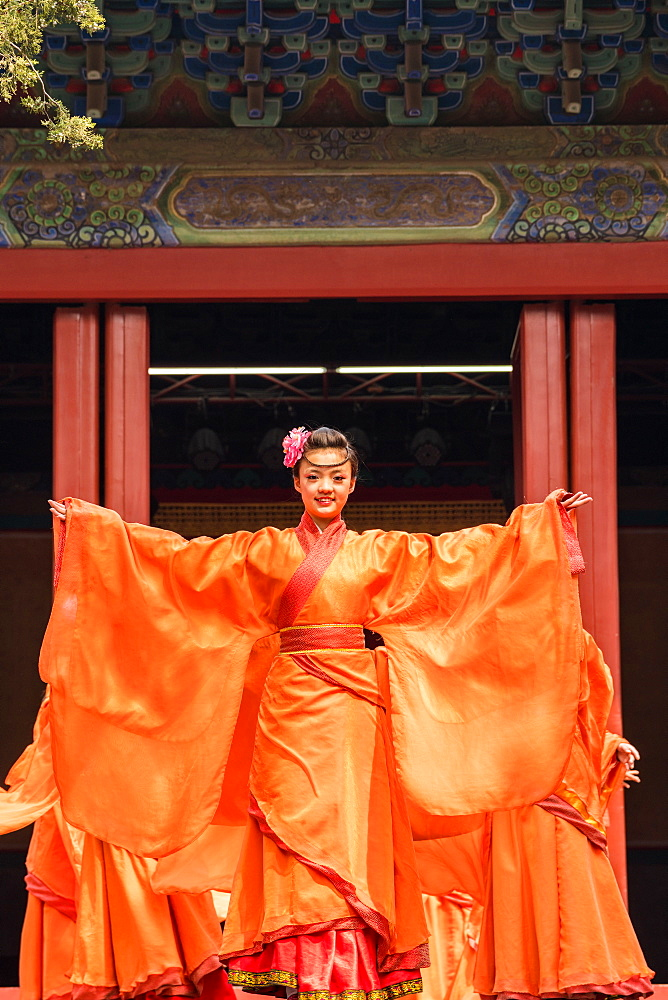 Traditional Chinese theatre performance in temple, Beijing, China, China