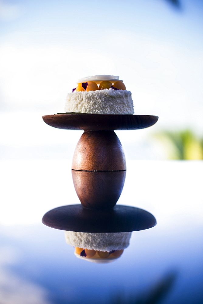 Close up of coconut and mango bedside cake, Thailand