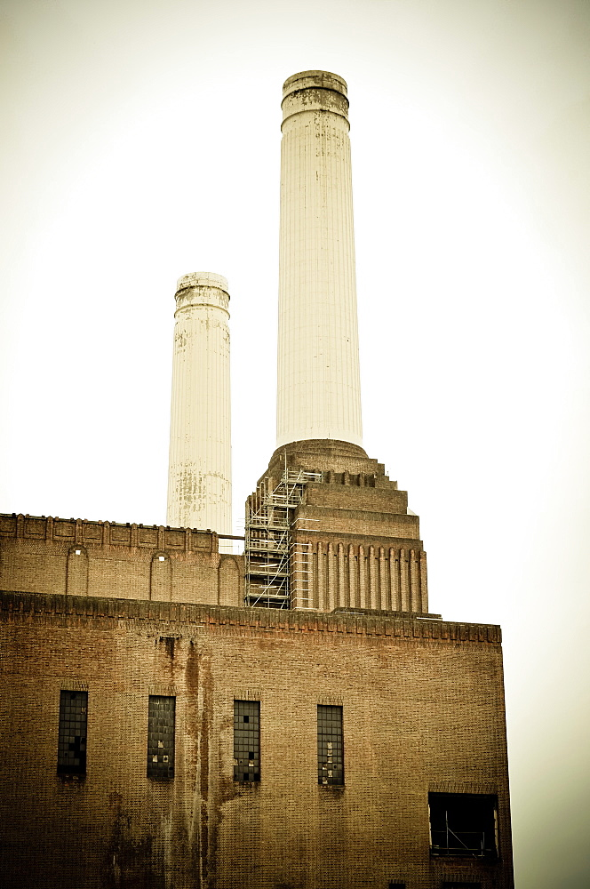 Exterior view of the landmark building on the south bank of the River Thames, Battersea Power Station, London, United Kingdom - 1174-7701