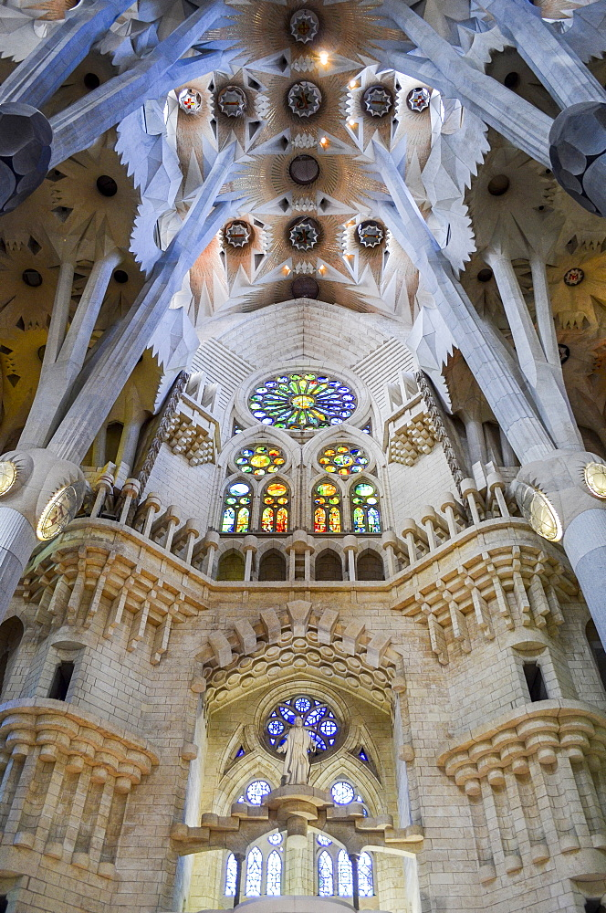 Low angle interior view of vaulting, Sagrada Familia, Barcelona, Catalonia, Spain