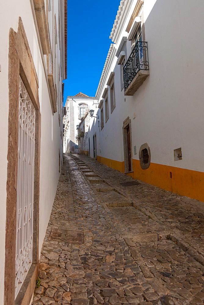 Narrow cobbled streets of Tavira, Algarve, Portugal