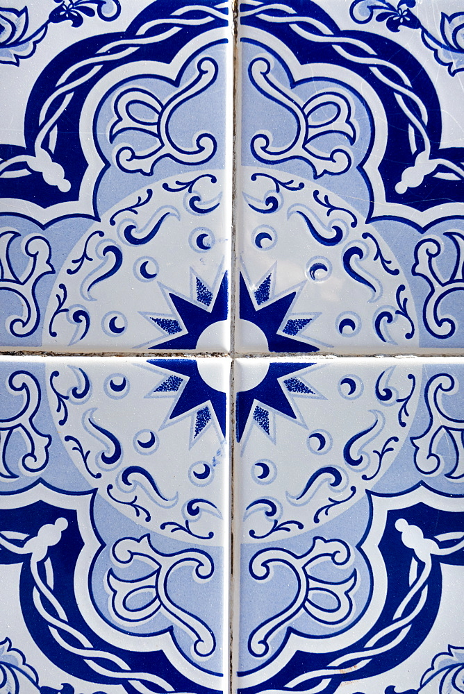 Vintage dark blue tiles, Algarve, Portugal