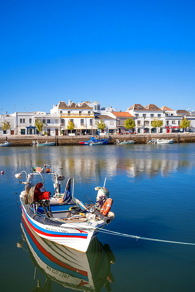 Fishing boats at Tavira, Eastern Algave, Portugal