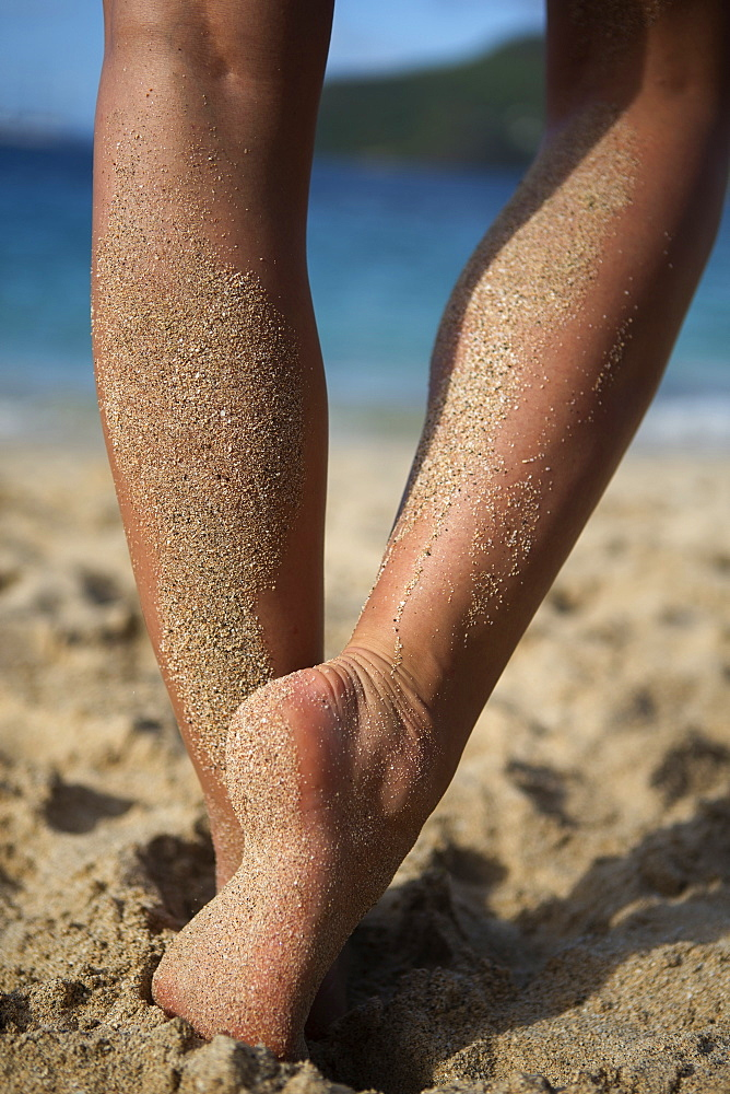 Rear view low section of person standing barefoot on a sandy beach