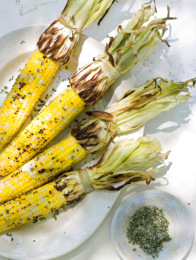 A buffet table set up in a garden for al fresco meal. Sweetcorn, corn on the cob, Maryland, USA
