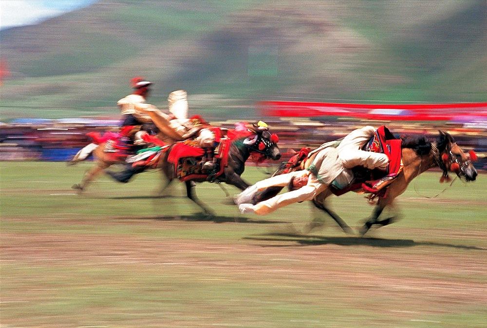 Horse riding, Tibet, Asia