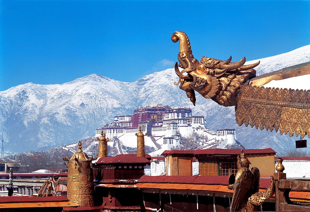 A distance view of Potala Palace from Jokhang Lamasery, Lhasa