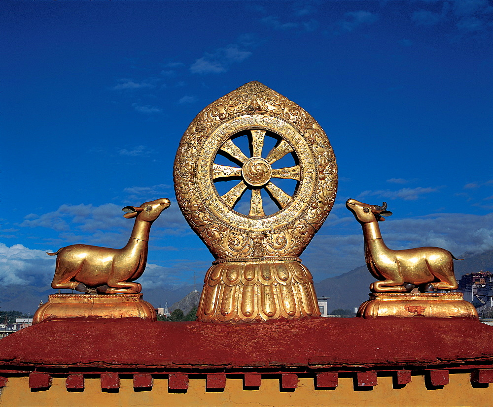 Wheel of Dharma on the roof of Jokhang Lamasery, Lhasa