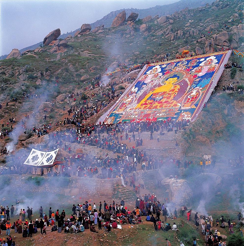 Buddha's portrait unfolding ceremony, Tibet