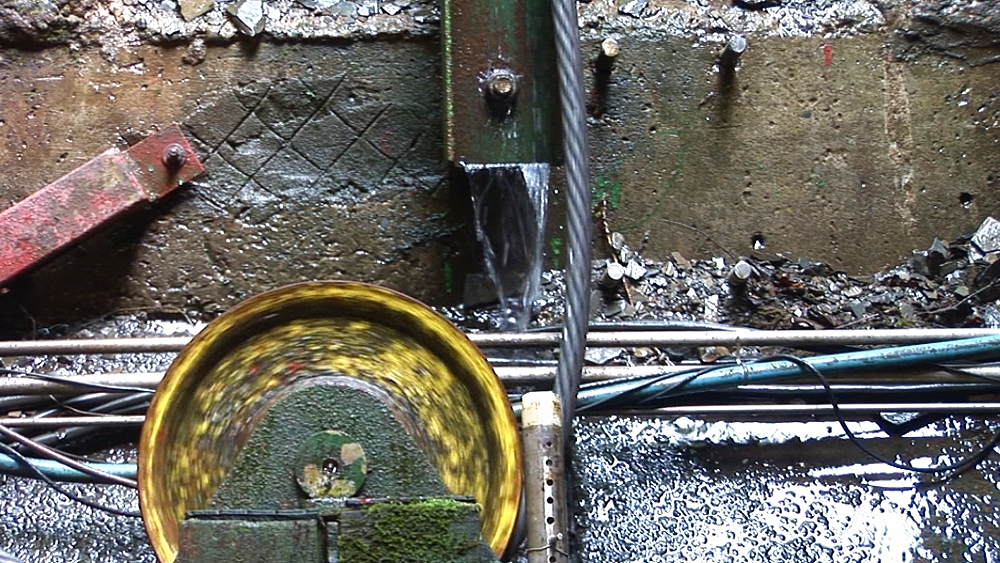 Cable and roller for water-balanced cliff railway. Centre for Alternative Technology. Machynlleth. Powys. Wales