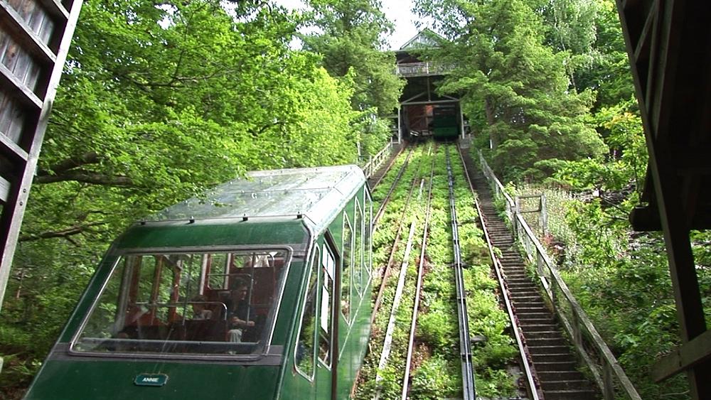 Water-balanced cliff railway. Centre for Alternative Technology. Machynlleth. Powys. Wales