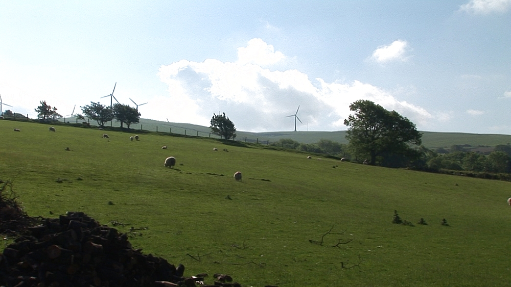 Wide of wind turbines. Near Centre for Alternative Technology. Machynlleth. Powys. Wales