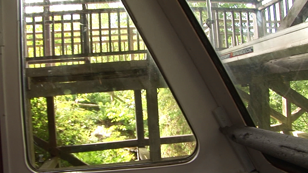View from inside water-balanced cliff railway. Centre for Alternative Technology. Machynlleth. Powys. Wales