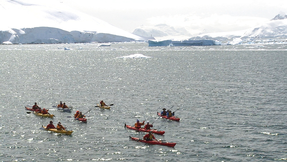 kayakers, typical Antarctic scenery. Paradise Bay  - 1034-908