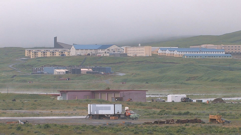 Aleutian settlement (and airstrip?) - location currently unidentified. Aleutian Islands. Alaska. - 959-44