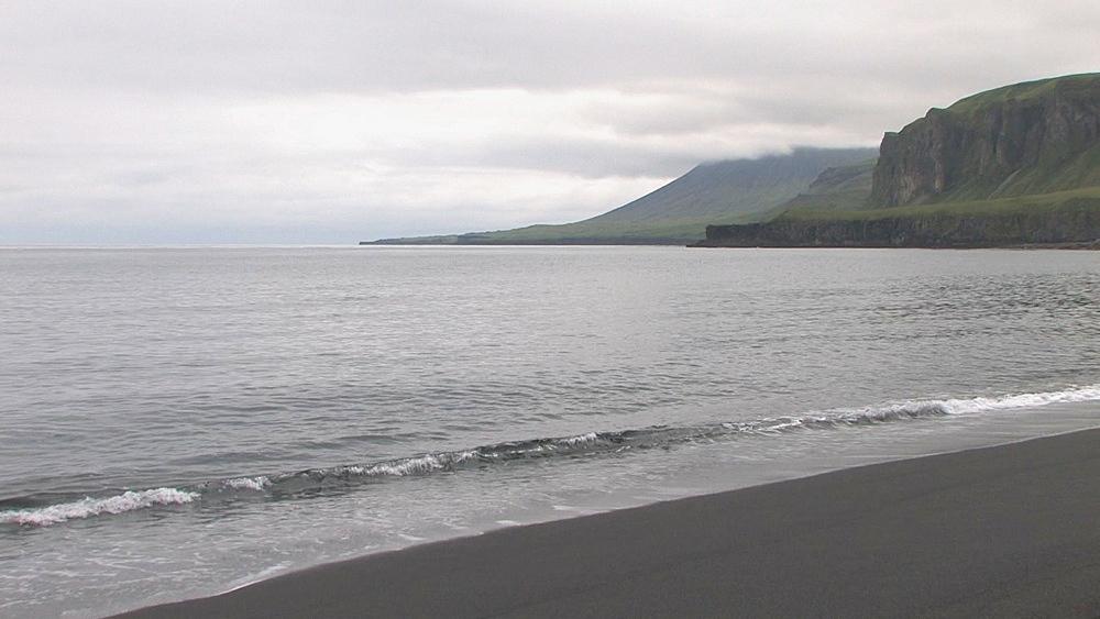 Black, basaltic sand beach. Northern Pacific, Aleutian Islands. Alaska - 959-45