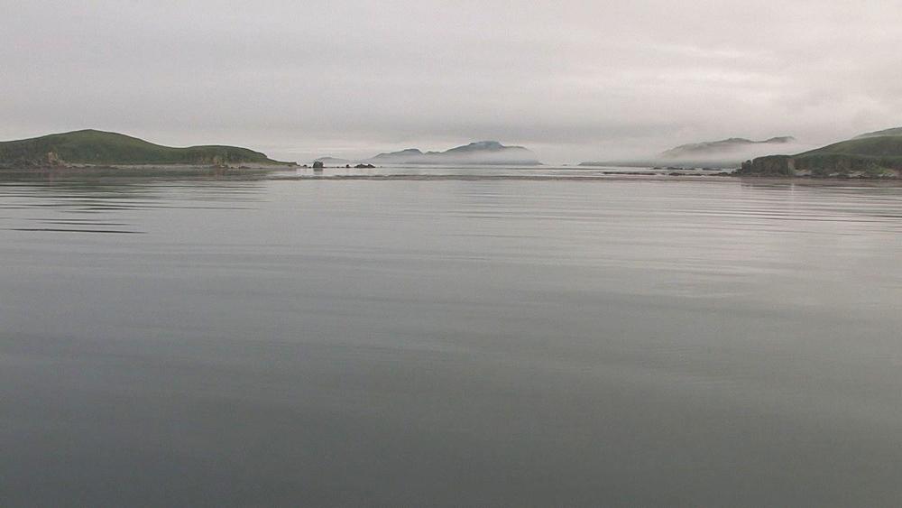 Misty coastal seascape from boat. Northern Pacific, Aleutian Islands. Alaska - 959-51