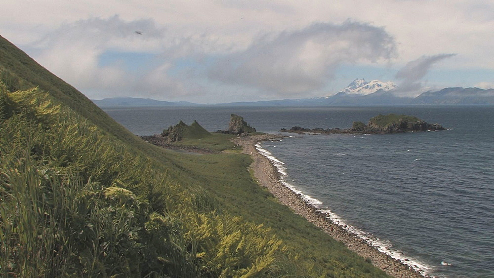 Coastal spit, mountains in background. Northern Pacific, Aleutian Islands. Alaska - 959-66