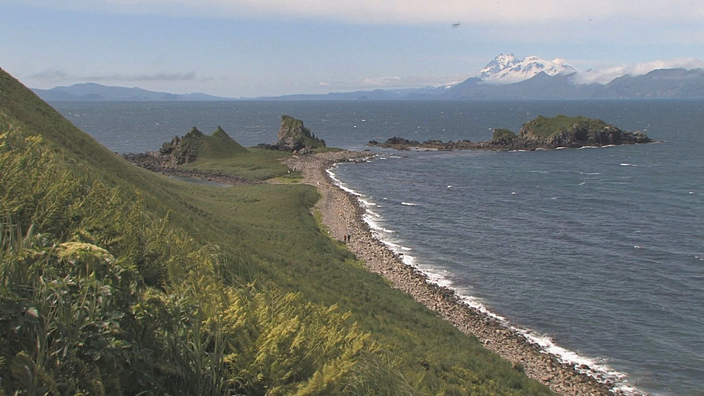 Coastal spit, mountains in background. Northern Pacific, Aleutian Islands. Alaska - 959-67